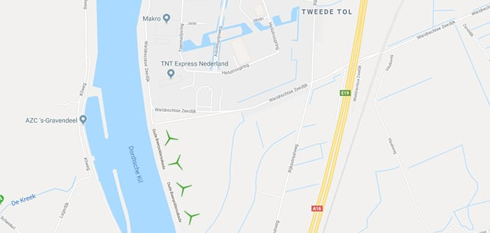 Locatie windpark Kilwind