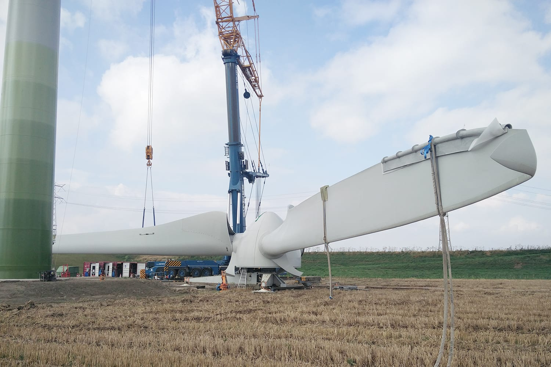 hijsen rotor windpark Kilwind